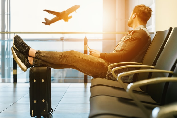 man preparing for travel