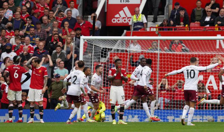Manchester United, ManU v Aston Villa - Premier League - Old Trafford Aston Villa s Kortney Hause (third right) celebra